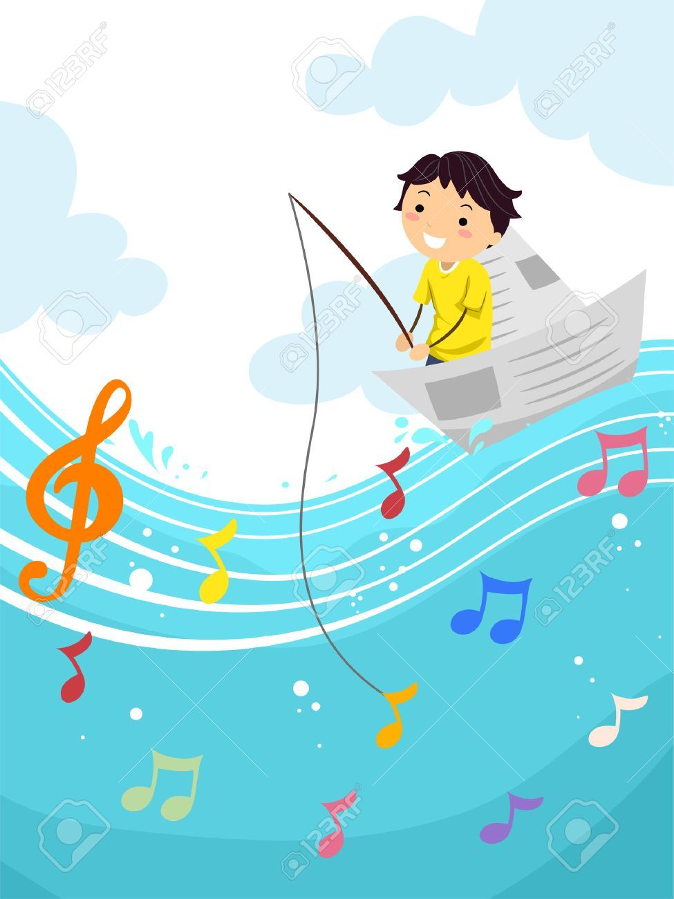 Stickman Illustration Of A Kid Boy Fishing For A Musical Note Aff Kid Illustration Stickman Boy Note Boy Fishing Art Inspiration Art