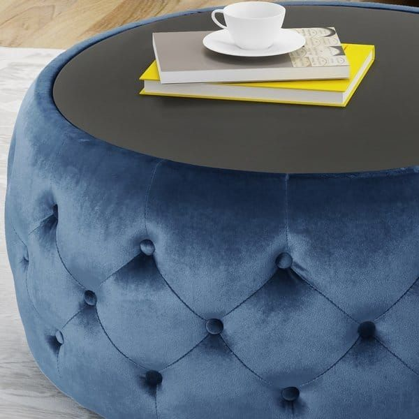 Chana Glam Velvet And Tempered Glass Coffee Table Ottoman By