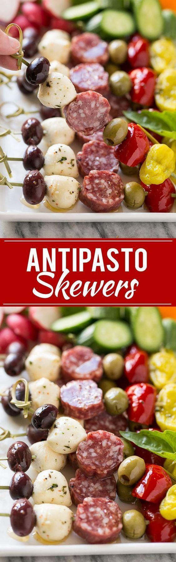 Diese Antipasti-Kebabs sind eine Auswahl an italienischem Fleisch, Käse und ... - -