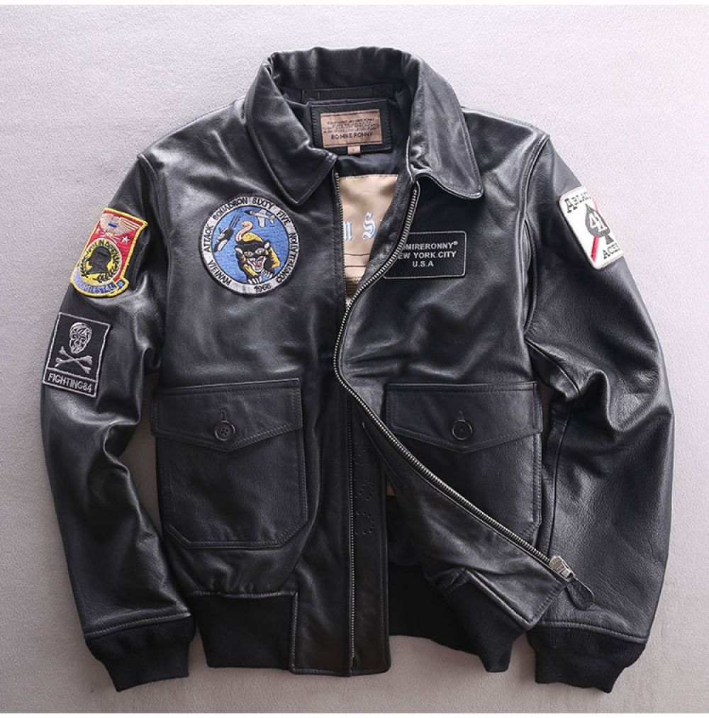 Genuine Leather Jacket Men Air Force Flight Suit Cowhide Bomber Jacket Short Motorcycle Biker Real Leather Coat Male Leather Jacket Men Leather Coat Genuine Leather Jackets [ 1013 x 1000 Pixel ]