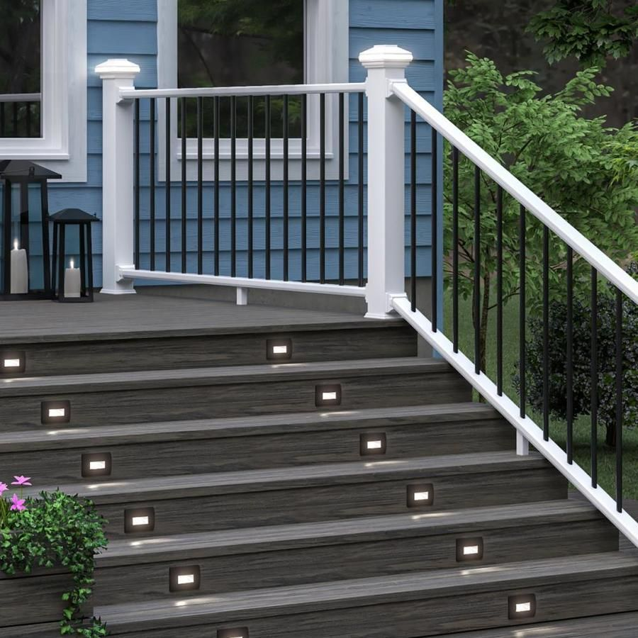 Deckorators Assembled 6 Ft X 3 Ft Grab And Go White Round Composite Deck Rail Kit With Balusters In 2020 Deck Stair Railing Railings Outdoor Deck Designs Backyard
