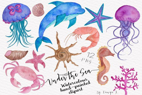 Under the Sea Watercolor Collection by Tanya Kart on @creativemarket