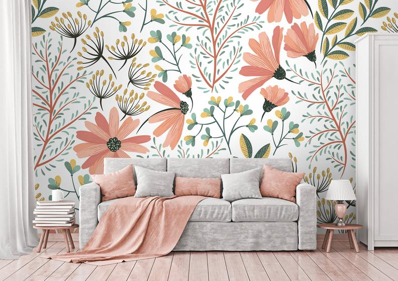 Photo of Pink Soft Flowers Wallpaper | Self Adhesive Wallpaper, Wall mural, Removable Wallpaper, temporary wallpaper #239, peel and stick wallpaper