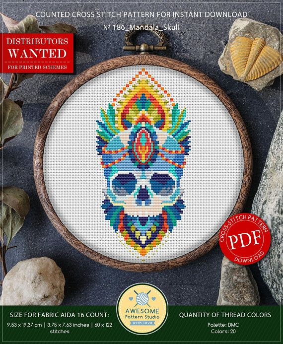 This Is Modern Cross Stitch Pattern Of Mandala Skull For Instant Download You Will Get 7 Pages PDF File Which Includes