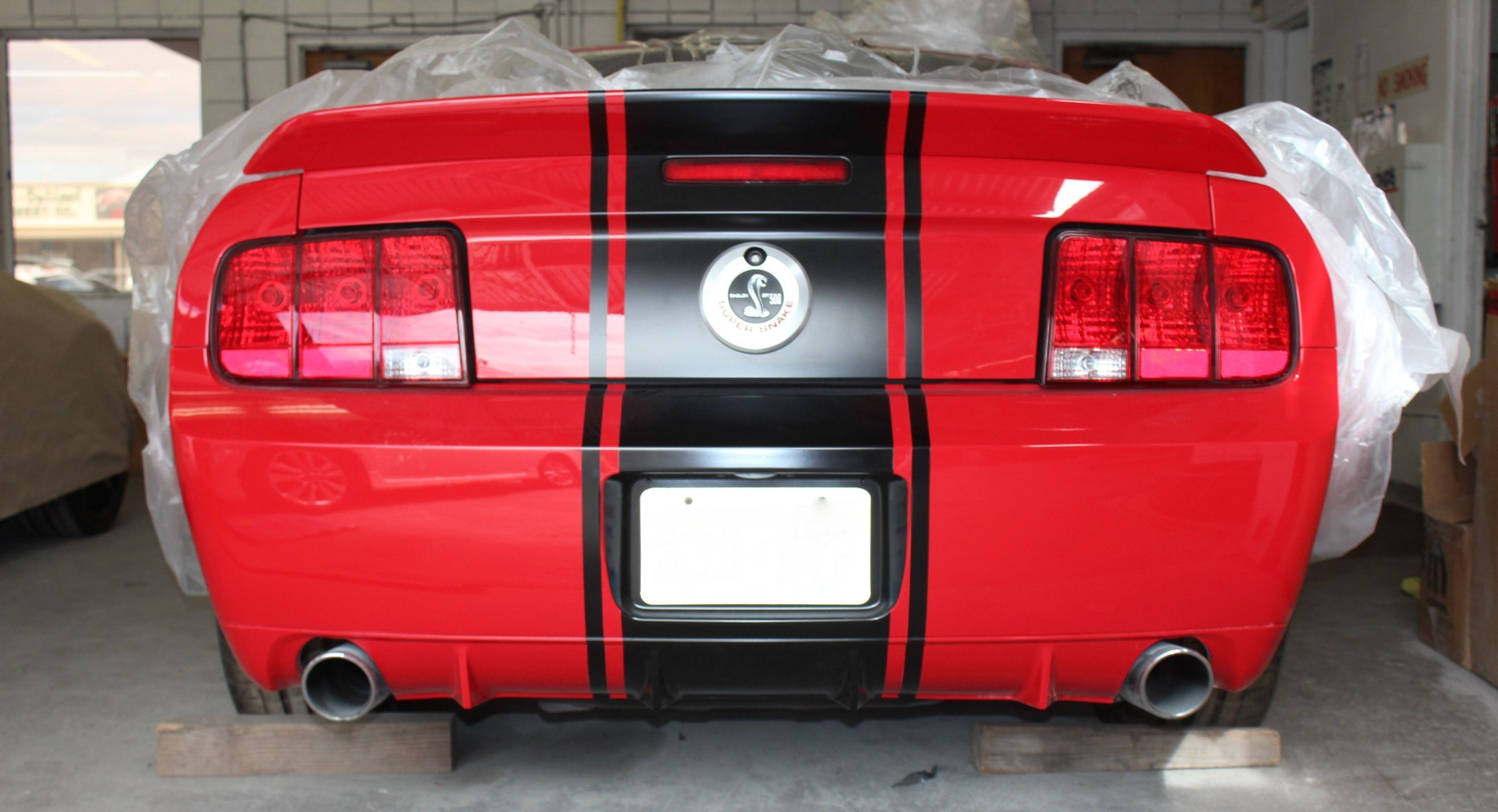 We Painted The Rear Diffuser On The Super Snake And Continued The Stripes Ford Mustang Super Snake Mustang