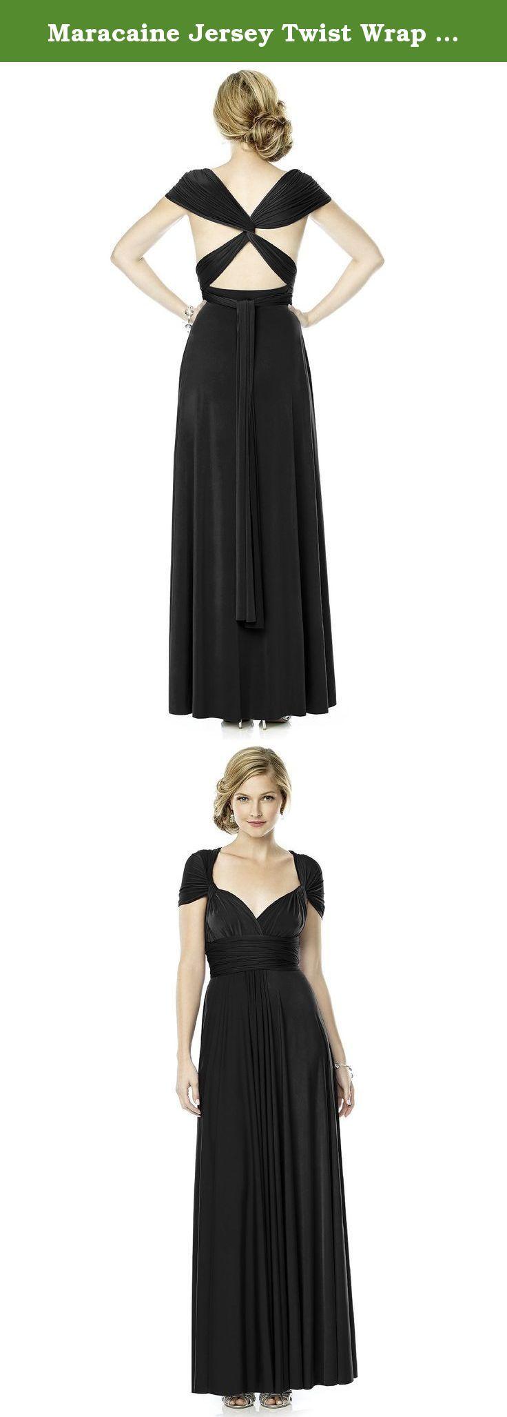 Maracaine jersey twist wrap dress long black size m the