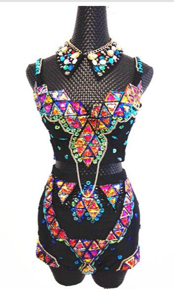 649b09cd2e Sexy Women's Dance Wear Rhinestone Outfit Customized Bra High Waist ...