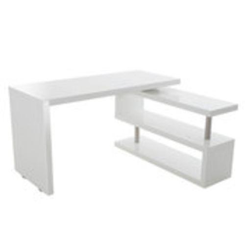 Bureau dangle en bois avec tagres L140cm Stand Blanc BUREA00158