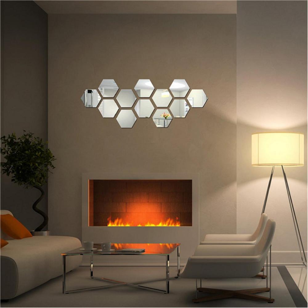 Diy 3d Home Mirror Hexagon Vinyl Removable Wall Sticker Decal Art Bedroom Living Room Home Decor In 2020 Mirror Wall Decor Living Room Murals Rooms Home Decor #stickers #for #living #room