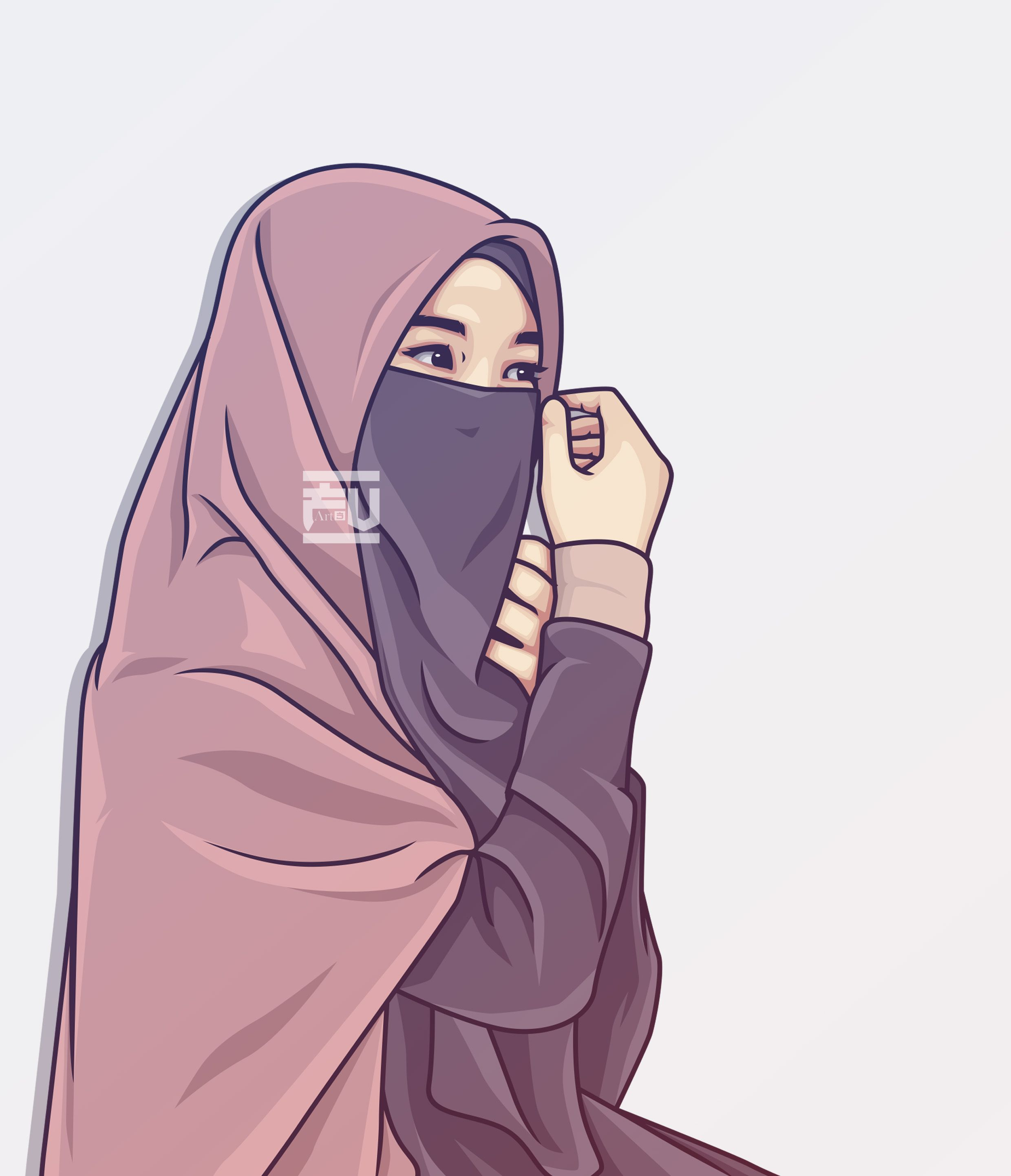 Hijab Vector Niqab In 2020 Hijab Cartoon Islamic Cartoon Anime Muslim