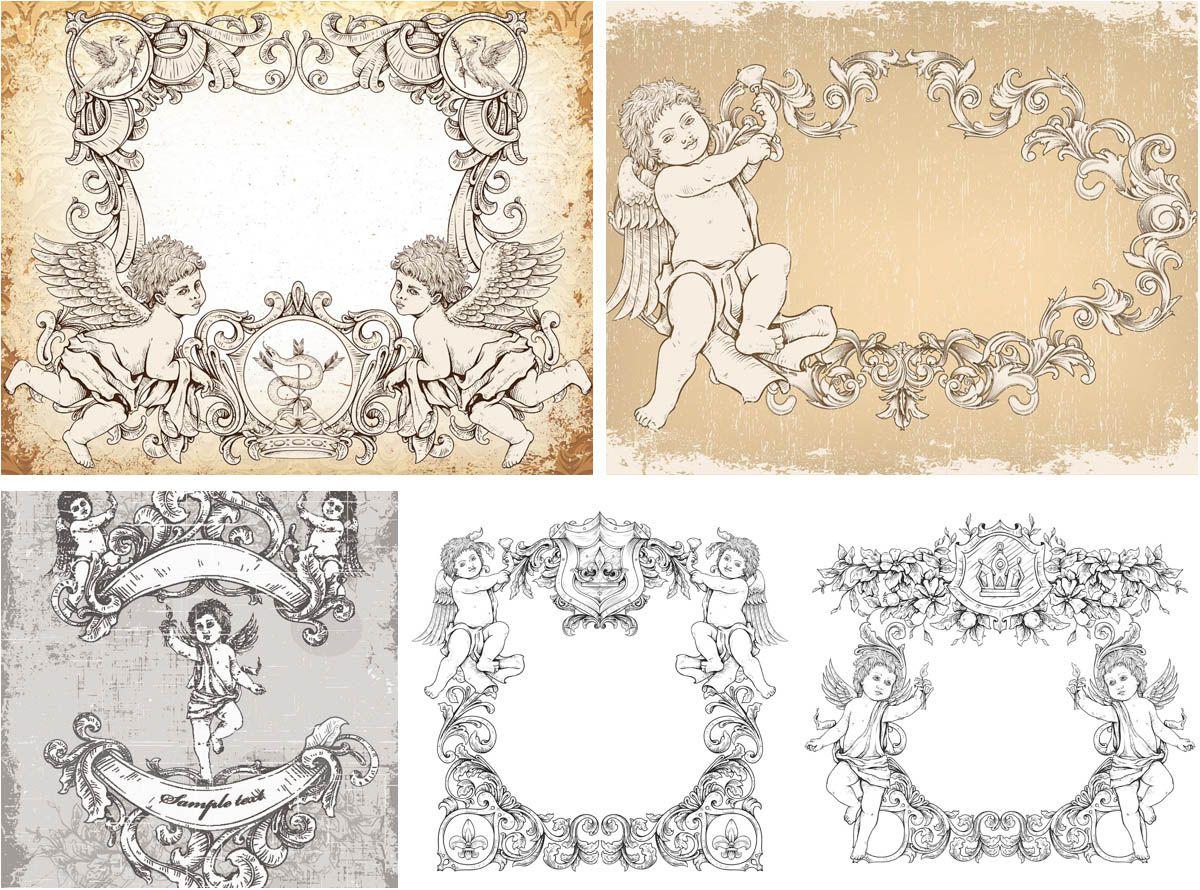 Vintage angels ornament frames vector vector design art for Angel decoration template