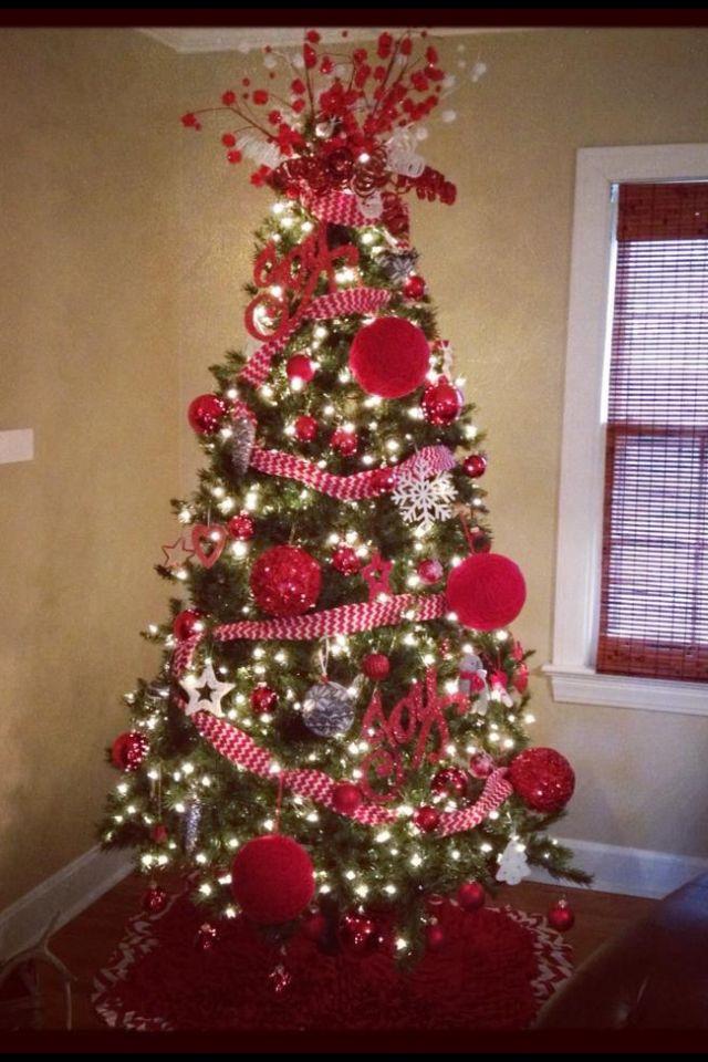 Red and white Christmas tree (my tree kinda looked like this last - white christmas tree decorations
