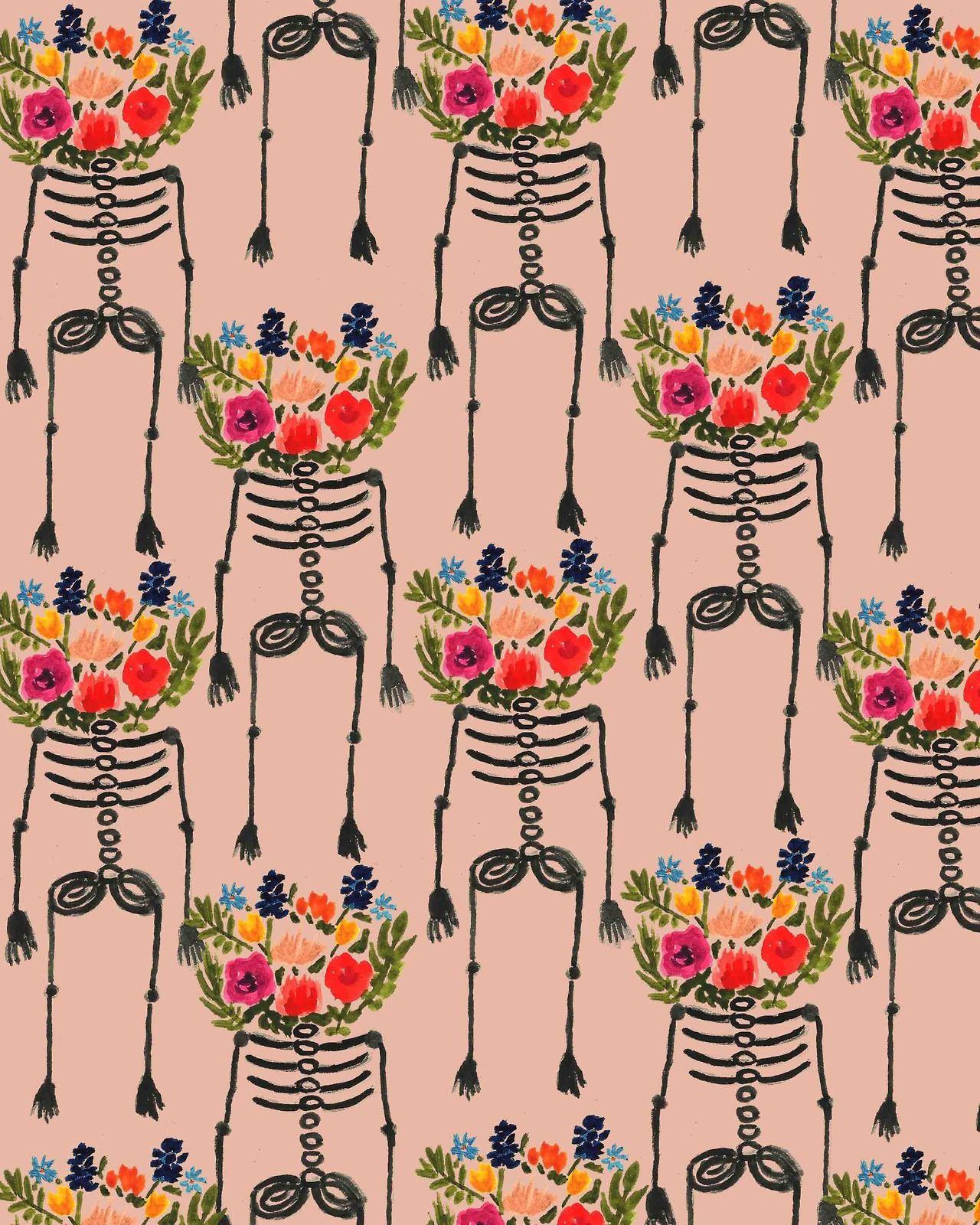 bouffantsandbrokenhearts Skeleton and Flowers Patterns Pinterest