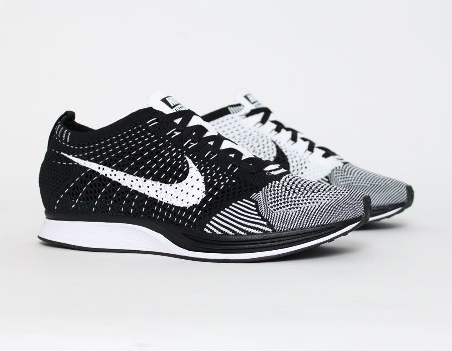 new product 731a0 4ff1b  Nike  Flyknit Racer White Black  Running  Sneakers