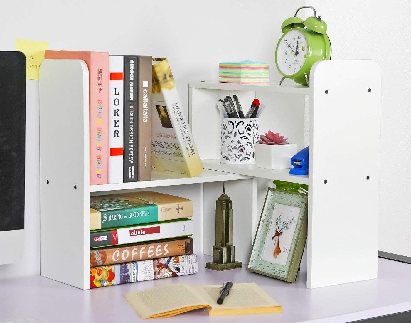 Desktop Bookshelf Adjustable Countertop Bookcase Office Supplies Wood Desk Organizer Accessor Desktop Bookshelf Office Supplies Wood Office Supply Organization