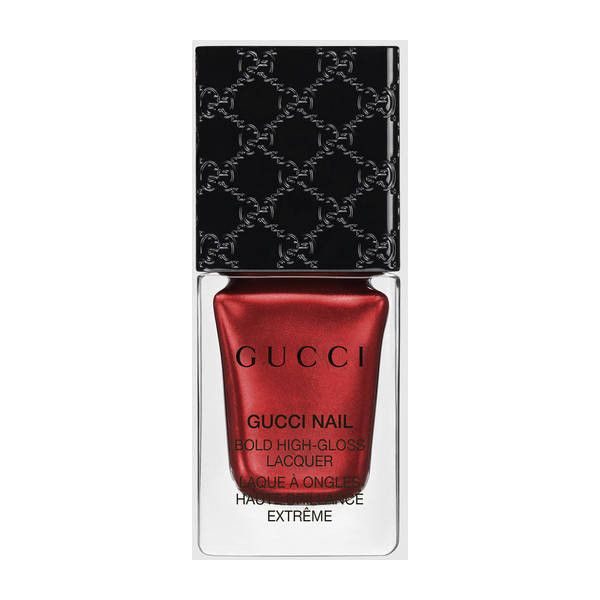 Gucci Siam Red, Bold High-Gloss Lacquer (€25) ❤ liked on Polyvore featuring beauty products, nail care, nail polish, glossy nail polish, gucci and shiny nail polish