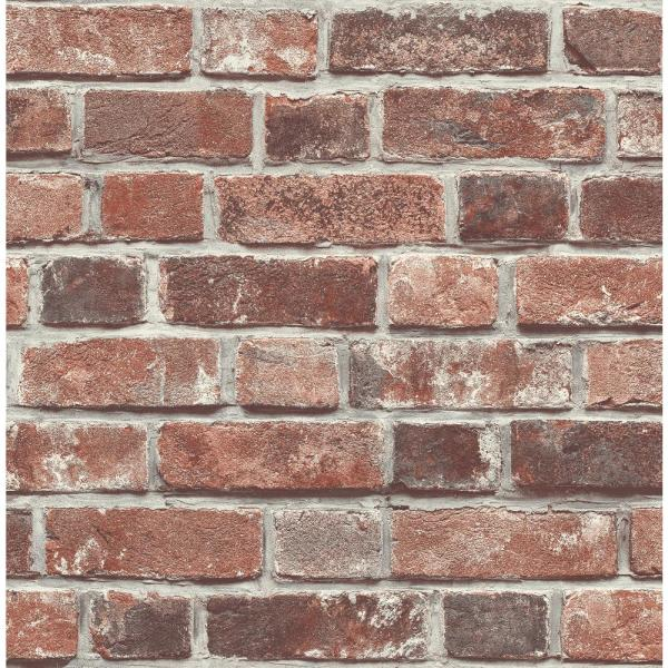 Nextwall Distressed Red Brick Peel And Stick Wallpaper Nw31700 The Home Depot Red Brick Wallpaper Brick Wallpaper Red Brick Walls