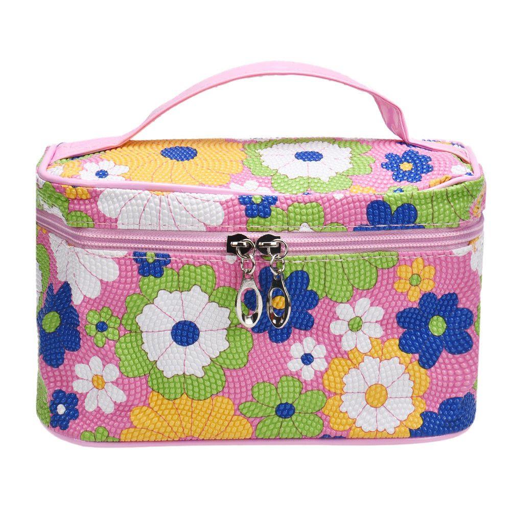 높은 품질 광장 해바라기 화장품 가방 화장품 케이스 화장품 가방 메이크업 가방 bolsas feminina Eueopean 미국 스타일의