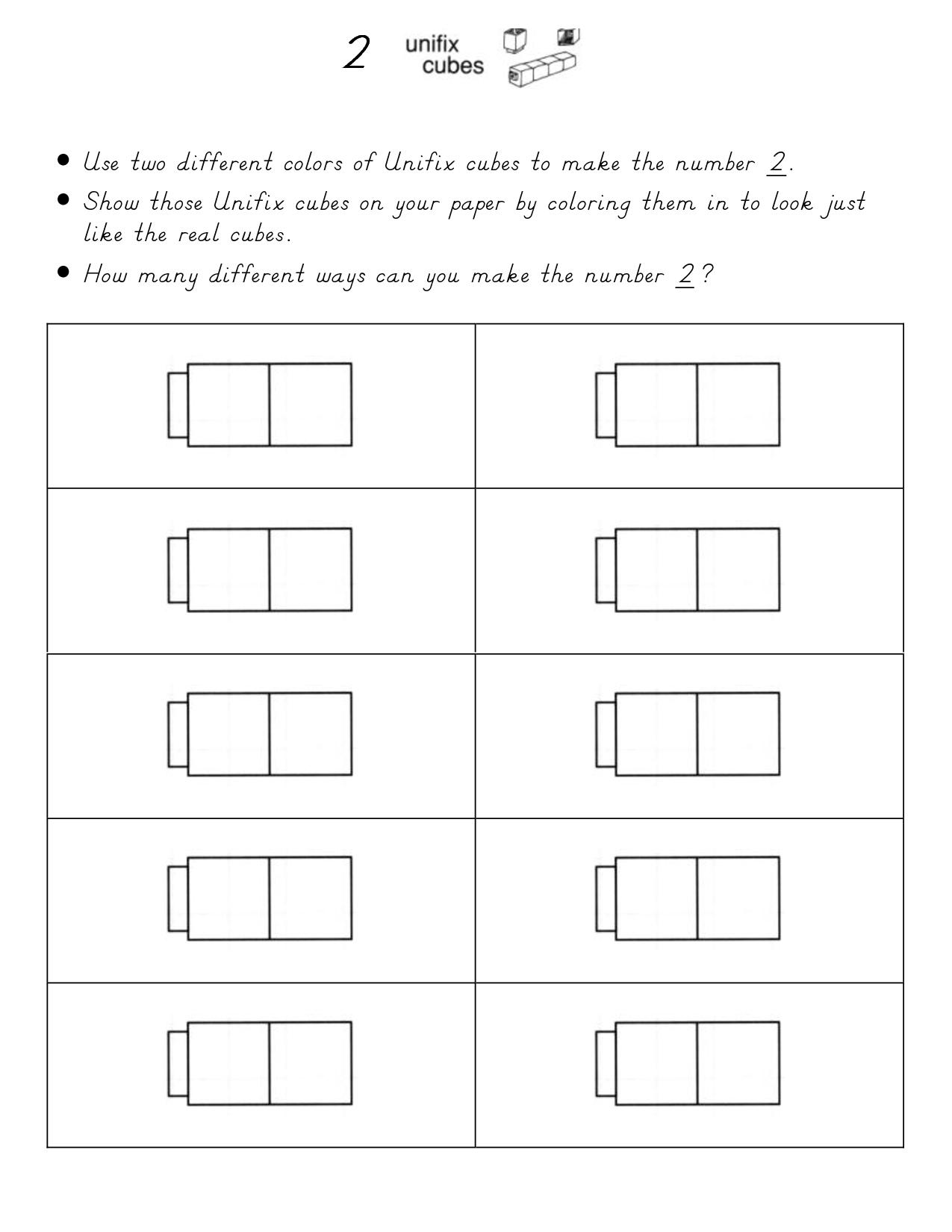 Unifix Cube Sheets 1