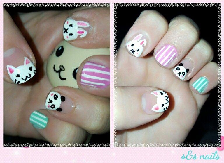 Kawaii nails Panda/ gato/ conejo  #cat