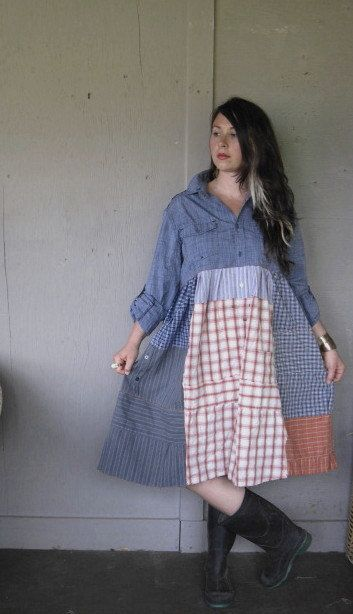 Eco upcycled clothing Funky Patchwork dress by lillienoradrygoods, $105.50. Make your own with thrift store plaid men's shirts--they are cheap, come in size large most of the time, and can be upcycled into everything from dresses to quilts.