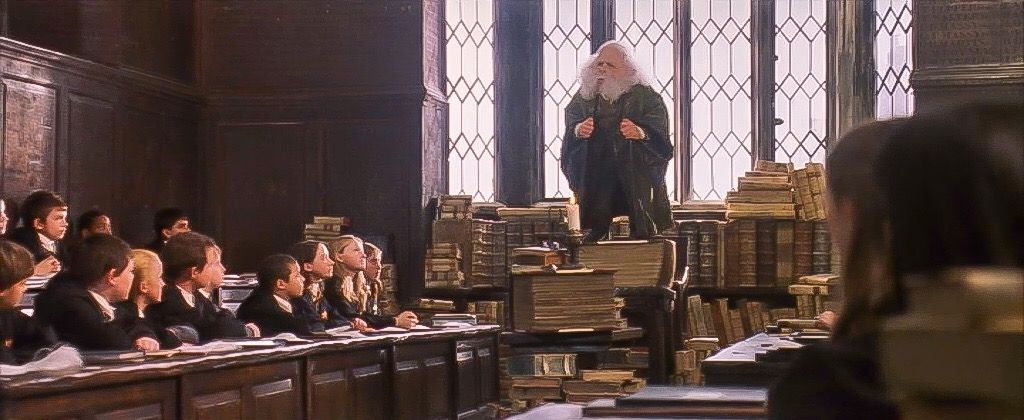 Harry Potter And The Sorcerer S Stone Professor Flitwick Charms Class Hogwarts Gryffindor Aesthetic Hogwarts Classes
