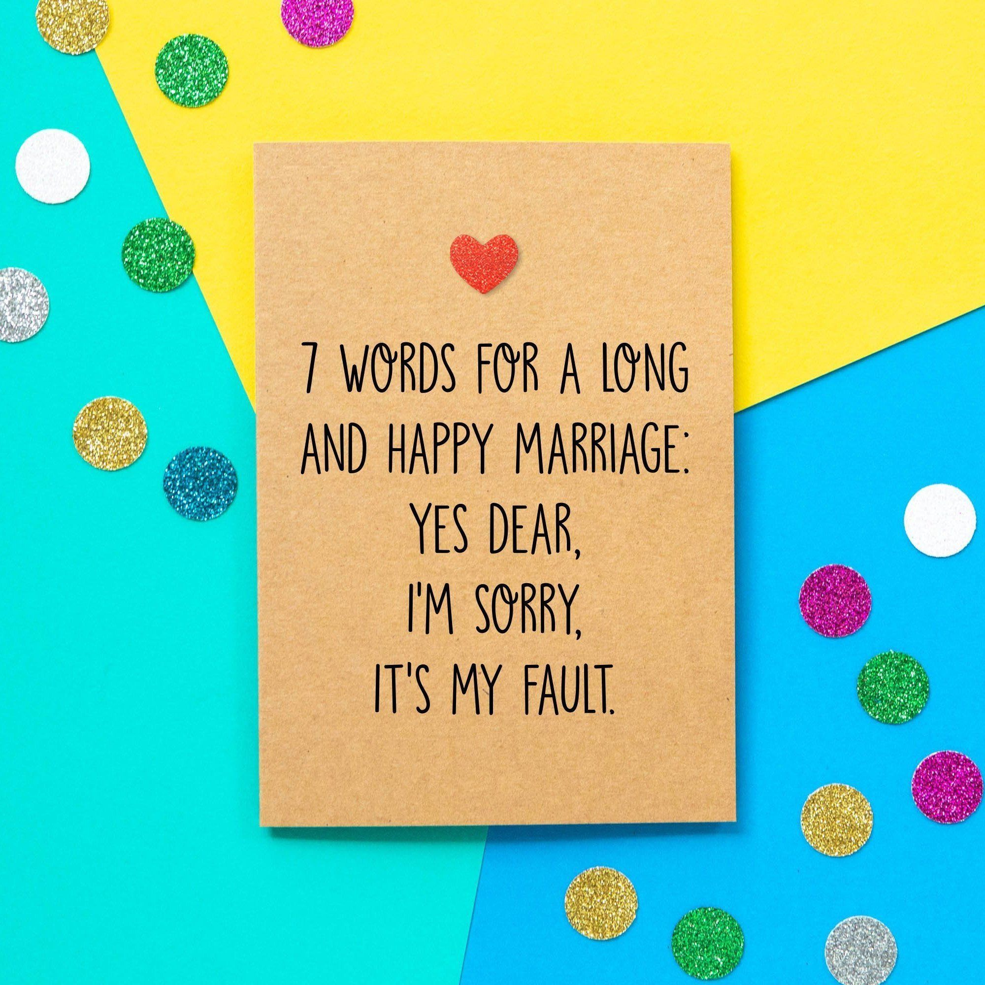 Funny wedding card 7 words for a long and happy marriage