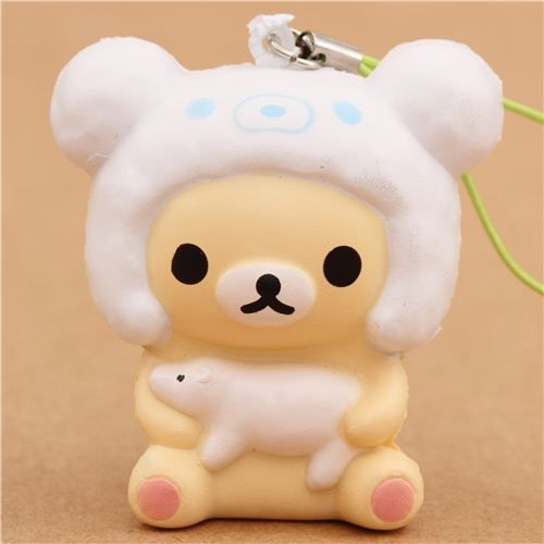 Squishy Bear Toys : Rilakkuma white bear with polar bear cap squishy charm cellphone charm Rilakkuma and Polar bear
