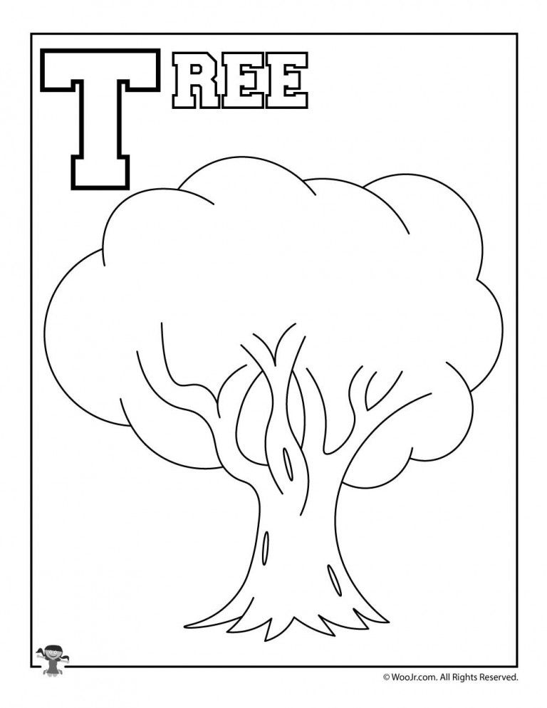 T Is For Tree Woo Jr Kids Activities Alphabet Coloring Pages Tree Coloring Page Kindergarten Worksheets Printable