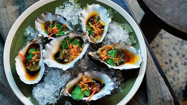 Pacific Oysters With Sweet Soy And Ginger Recipe 9kitchen Oyster Recipes Ginger Recipes Seafood Recipes
