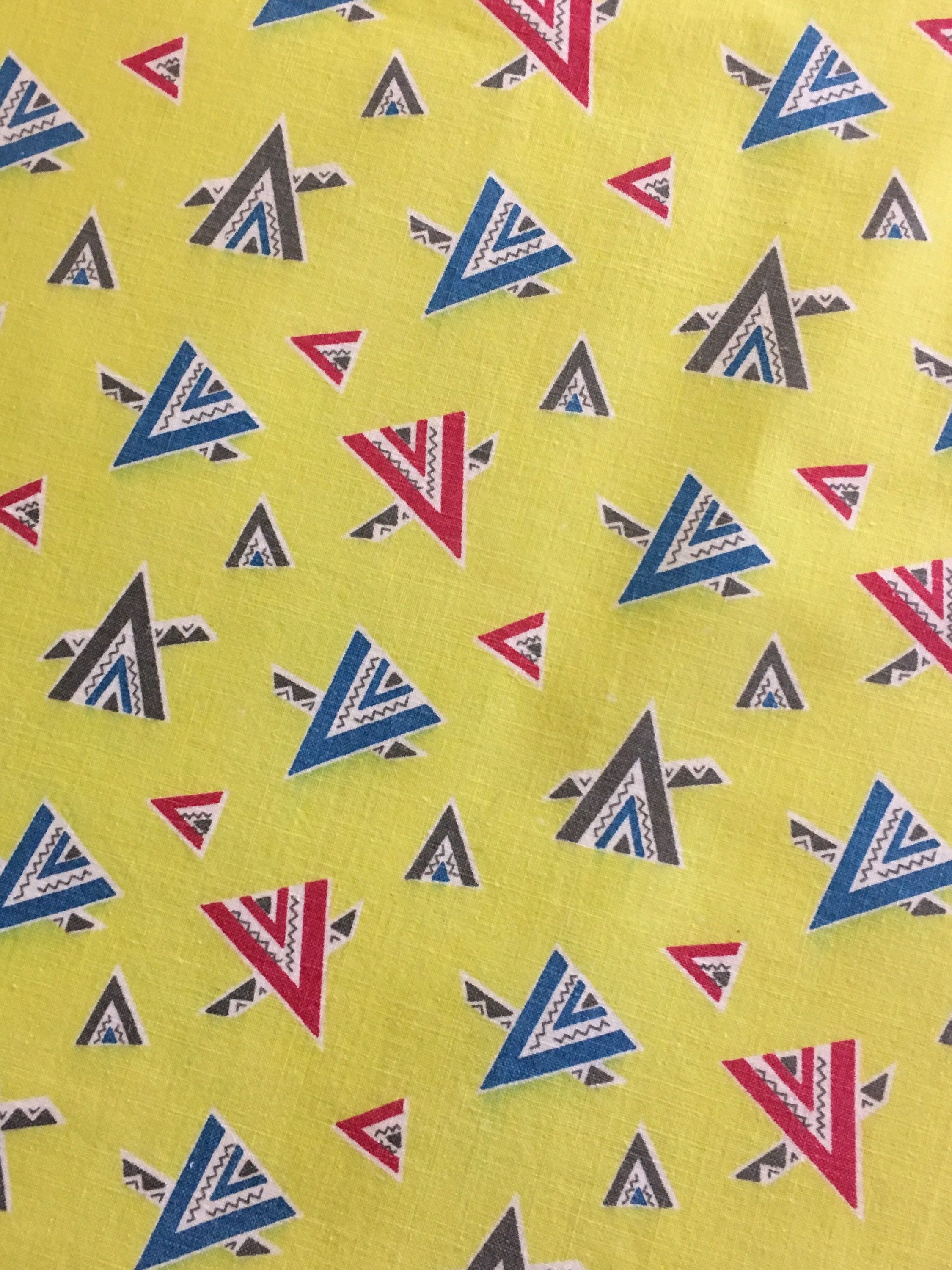 Vintage feedsack flour sack novelty yellow green tepees   quilt fat quarter patchwork also