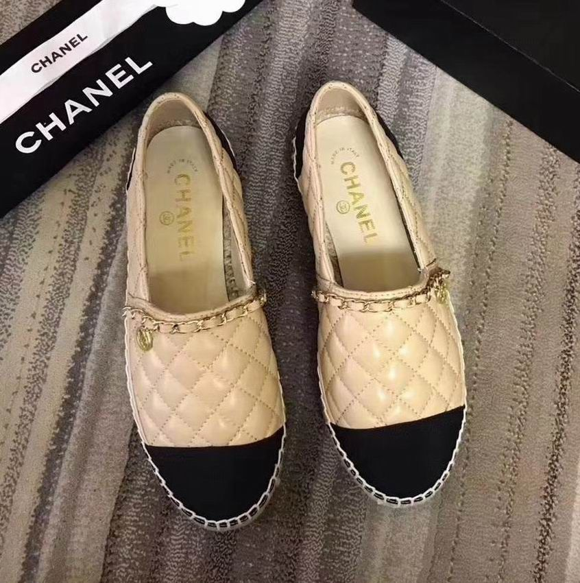 8e35deb0e13 Chanel Espadrilles Quilted Lambskin Shoes with Chain Apricot ...