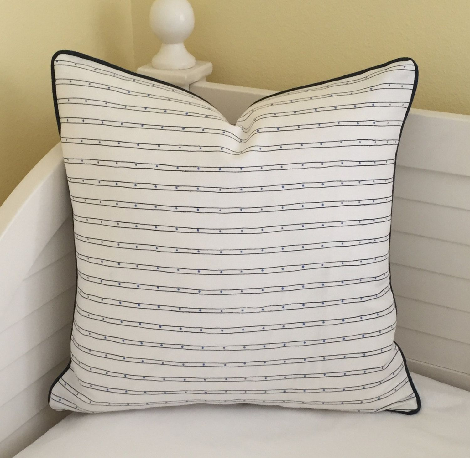 Quadrille China Seas Adam Campbell Soho Designer Pillow Cover with Navy Piping - Square, Lumbar and Euro Sizes by SewSusieDesigns on Etsy