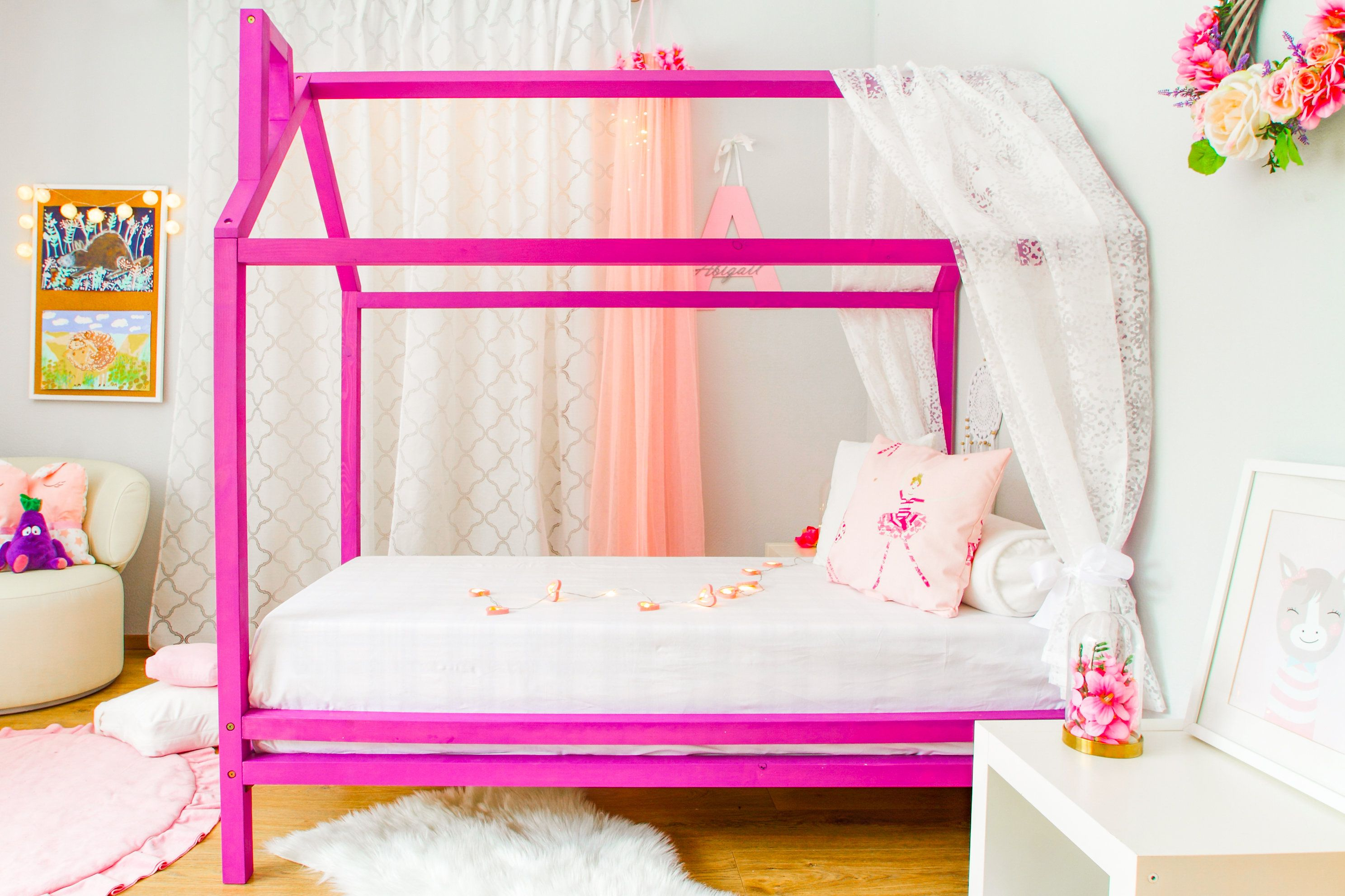 Eco Wooden Playhouse Bed Montessori House Bed For Toddler Frame