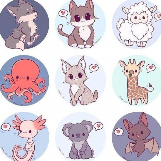 Kawaii Animals Stickers Owl Snow Leopard Shiba Fox Husky #