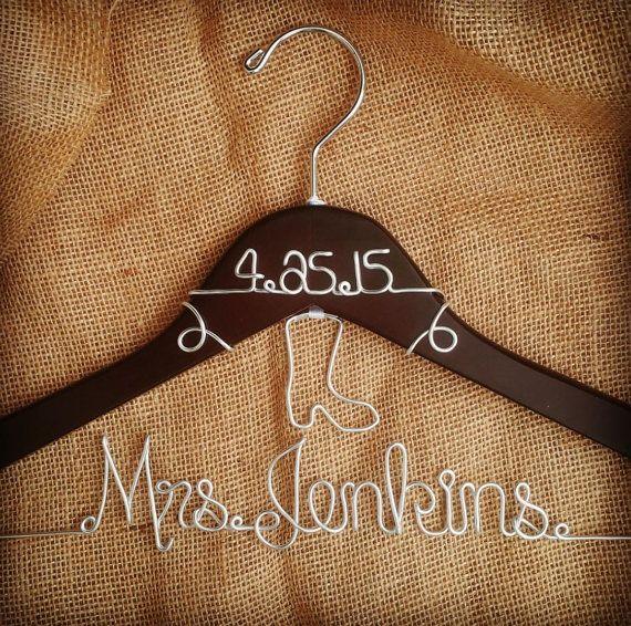 Custom Wedding Hanger with Hanging Cowboy by GoodLookingHangers