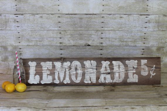 Lemonade wood mantel sign rustic distressed reclaimed wood sign wall decor summer decor