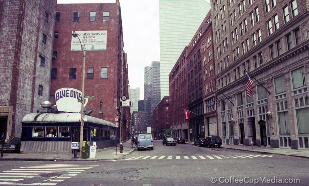 Blue Diner, Boston, in its heydey, 1991 Street view