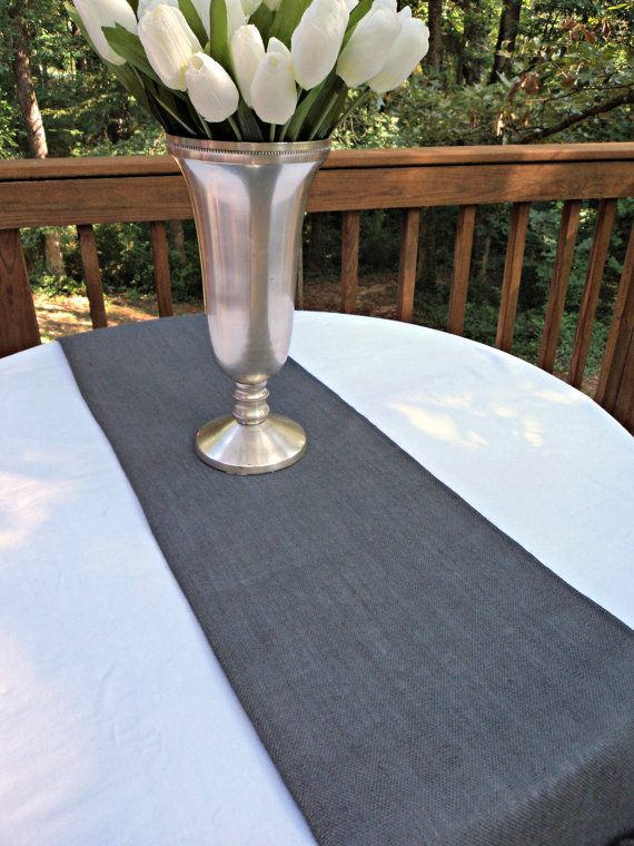 Gray Burlap Table Runner Or Choose Your Color Gray Home Decor Table Runner With Ruffles Gray Table Table Runners Wedding Grey Home Decor Interior Design Rustic