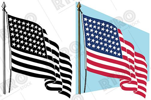 A Graphic Of The American Flag Waving In The Breeze Vintage Retro Clip Art Clipart American Flag Waving American Flag Flag