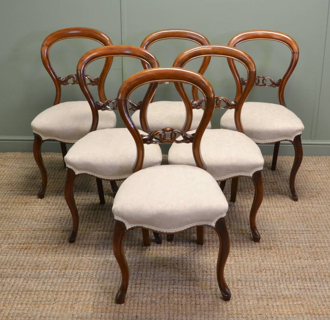 Set of Six Victorian Walnut Antique Balloon back Dining Chairs - Antique Balloon Back Chairs Dining Chairs, Victorian And Room
