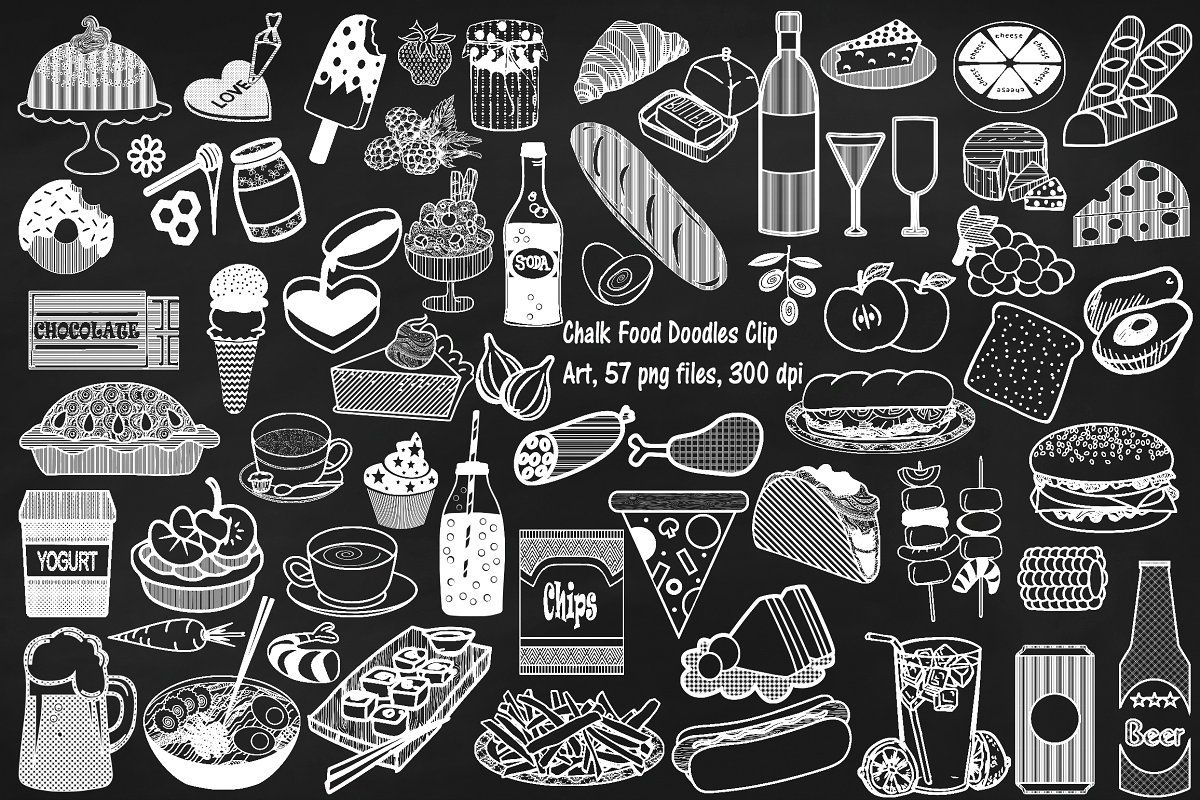 Chalk Food Doodles Clip Art Chalk Lettering Food Doodles Chalk Drawings