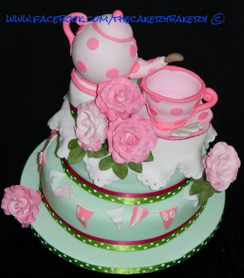 Time for tea, teapot and cup and saucer cake