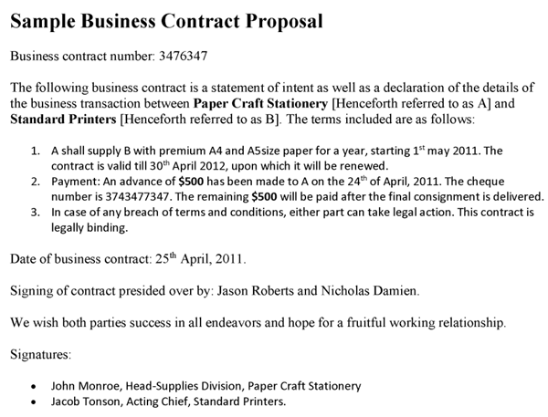 sample business contract proposal,partnership agreement template ...