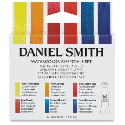 Daniel Smith Extra Fine Essentials Set, 5ml tubes. Colors: Hansa Yellow Light, 5ml  New Gamboge, 5ml  Quinacridone Rose, 5ml  Pyrrol Scarlet, 5ml  Phthalo Blue GS, 5ml  French Ultramarine, 5ml