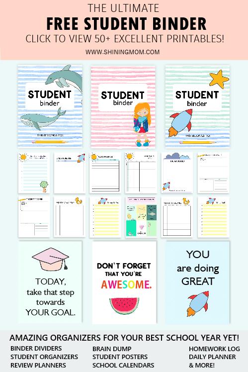 Free Student Binder Printables 50 Brilliant Planning Sheets