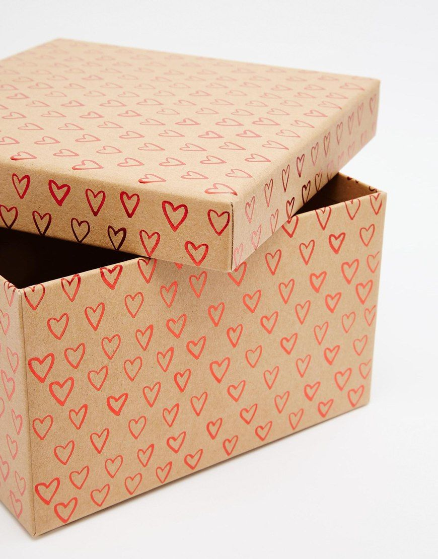Image 3 of Paperchase Valentines Kraft Ditsy Heart Large Gift Box
