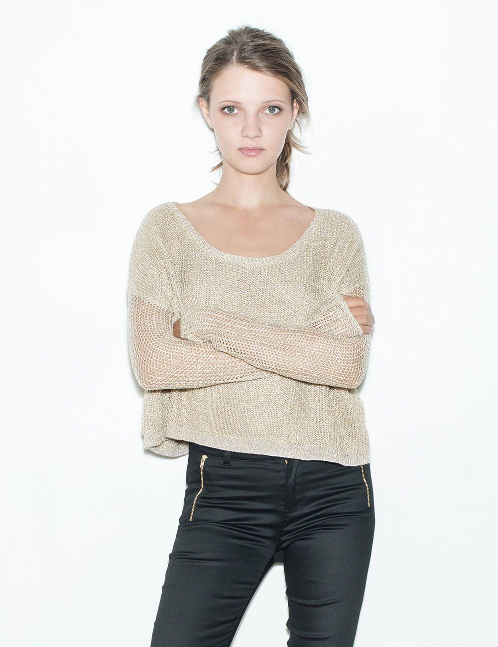 Pull crop beige et doré - Jennyfer e-shop