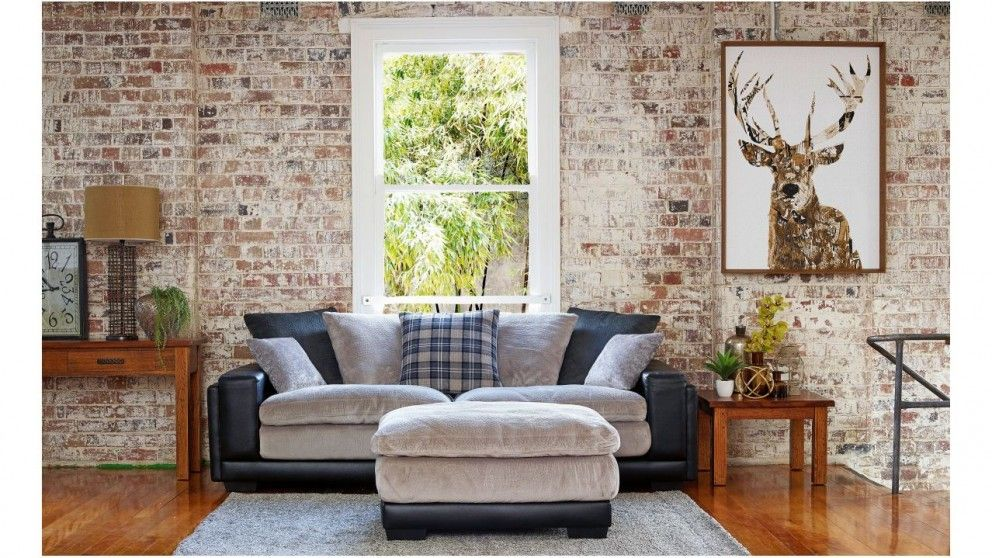 Kingdom 4 seater fabric sofa plus ottoman lounges - Harvey norman living room furniture ...