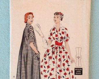 Items similar to Vintage 50s Butterick 6748 Misses  Morning Dress, House Coat with Raglan Sleeves or Cut Away Sleeveless Sewing Pattern Size 16, Bust 34 on Etsy